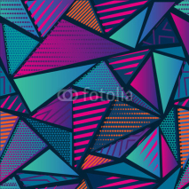 Obrazy i plakaty Abstract seamless chaotic pattern with urban geometric elements. Grunge neon texture background. Wallpaper for boys and girls