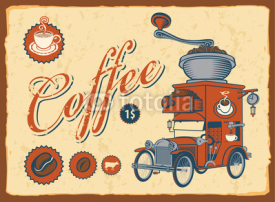 Fototapety vintage car with coffee grinder on roof