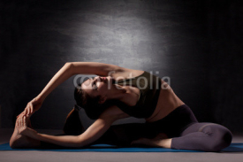 Fototapety Mature woman practicing yoga
