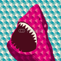 Naklejki Geometric background with shark.