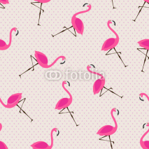 Fototapety cute pattern with pink flamingos
