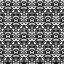 Obrazy i plakaty Lace black seamless mesh pattern. Vector illustration.