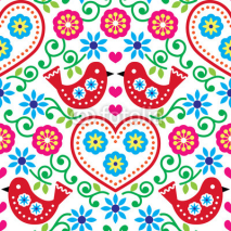 Fototapety Folk art seamless pattern with flowers and birds