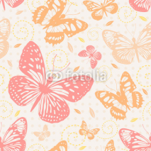Fototapety Seamless pattern with butterflies in neutral colors