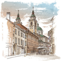 Naklejki Vector drawing of central street of old european town