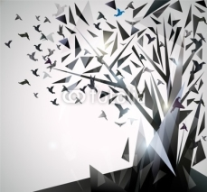 Naklejki Abstract Tree with origami birds.