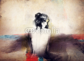 Naklejki woman portrait  .abstract  watercolor .fashion background
