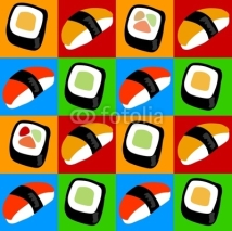 Fototapety Sushi and sashimi pop art