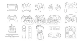 Obrazy i plakaty Video Game Controllers Icon Set