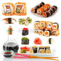 Naklejki Tasty sushi collage isolated on white