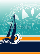 Naklejki Sailboat vector wallpaper
