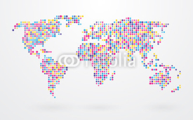 Obrazy i plakaty world map made ​​up of small colorful dots