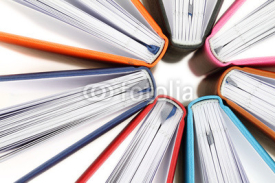 Fototapety Top view of colorful books in a circle on white background