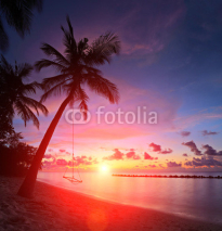Naklejki View of a beach with palm trees and swing at sunset, Maldives