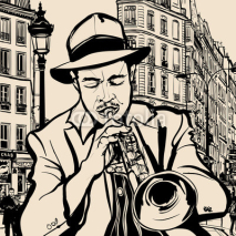 trumpet player on a cityscape background