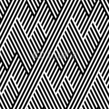 Naklejki Vector seamless texture. Geometric abstract background. Monochrome repeating pattern of broken lines.