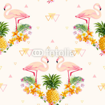Fototapety Geometric Pineapple and Flamingo Background - Seamless Pattern
