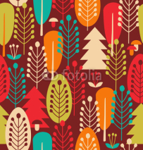 Fototapety Seamless background with decorative trees