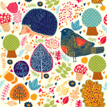 Naklejki Autumn seamless pattern with flowers, trees, leaves and crew cut