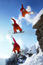 Fototapety The whole jump of Snowboarder from the rock in mountains