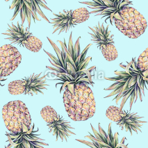 Naklejki Pineapples on a light blue background. Watercolor colourful illustration. Tropical fruit. Seamless pattern