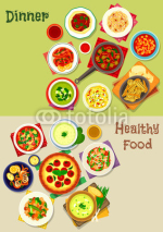 Lunch menu dishes icon set for food theme design