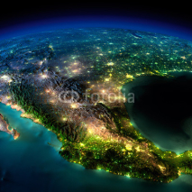 Naklejki Night Earth. A piece of North America - Mexico