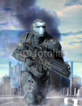 Fototapety futuristic soldier armor at war