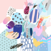 Fototapety Trendy creative collage with different textures and shapes. Modern graphic design.  Unusual artwork. Vector. Isolated