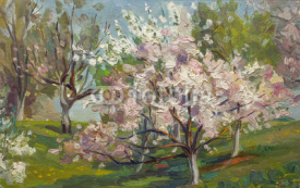 Naklejki Beautiful Original Oil Painting of flowering tree in the summer garden  Landscape On Canvas