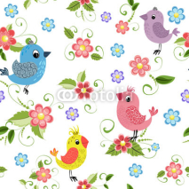 Obrazy i plakaty Texture seamless bird and flowers