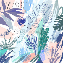 Obrazy i plakaty Creative universal floral background in tropical style. Vector