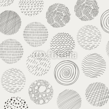 Naklejki Vector Illustration of Abstract Doodle Circles