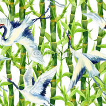 Naklejki Watercolor asian crane bird seamless pattern