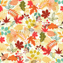 Naklejki Seamless vector pattern with stylized autumn leaves.