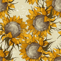 Naklejki seamless ornament with sunflowers