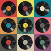 Naklejki Vinyl records with colorful labels
