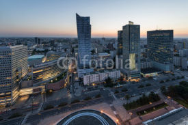 Obrazy i plakaty Panorama of Warsaw city center during sundown