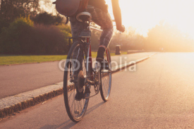 Obrazy i plakaty Young woman cycling in the park at sunset