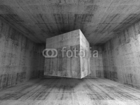 Obrazy i plakaty Flying cube in abstract 3d concrete room interior