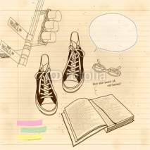 Obrazy i plakaty still life of book and shoes