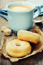 Fototapety coffe and fresh donuts