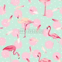Fototapety Flamingo Bird Background. Flamingo Feather Background. Retro Seamless Pattern