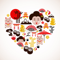Fototapety Heart shape with Japan icons