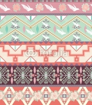 Fototapety Seamless pastel aztec pattern with birds and roses