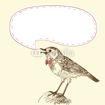 Illustration of singing bird with your text