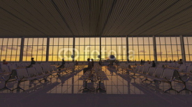 Obrazy i plakaty Animation of modern airport terminal with white seats and a huge viewing glass facade. Passengers waiting to embark. Beautiful sunrise on the background.