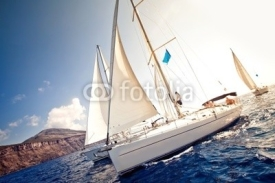 Naklejki Sailing ship yachts with white sails