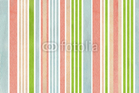 Naklejki Watercolor green, pink, beige and blue striped background.