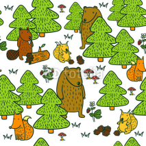 Obrazy i plakaty Cute pattern with cartoon forest animals